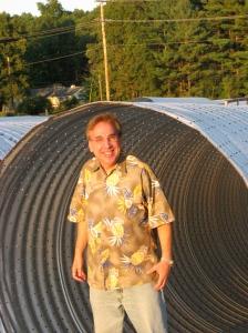 Writer explores metal drainage pipe at Biltmore Estates in Skippack, Pa.