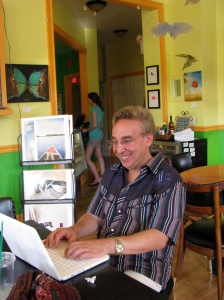 Author sitting with lap top