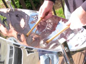 Close up of a steel drum
