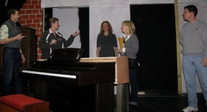 The Musical Comedy Murders of 1940 in rehearsal. From left to right: Bill Lamack, Linda Friday, Elizabeth McDonald, Amy Reifinger, and Steven Zanine.